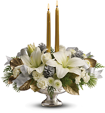 Teleflora\'s Silver And Gold Centerpiece